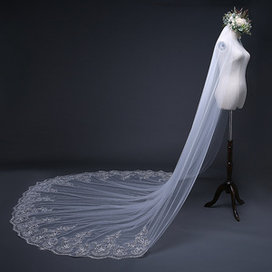 Image 4 - Mrs Win Pure White 3m Bridal Long Cathedral Veil Lace Edge Appliqued One layer Comb Veu De Noiva Mariee 2018 Length Customize C
