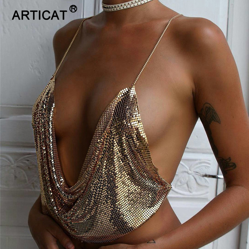 SIBYBO Metal Women Tank Top 2017 Beach Backless Drapped Deep V Neck Sequins Sexy Elegant Club Party Halter Crop Tops Bustier