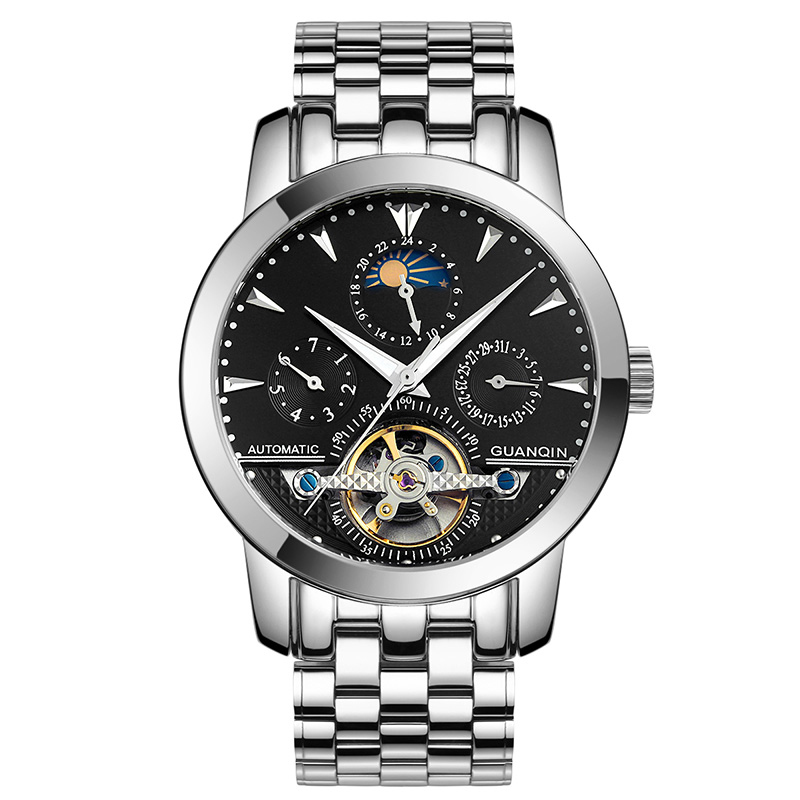 GUANQIN GQ10028 Skeleton watch men's automatic mechanical moon phase Tourbillon sapphire stainless steel Waterproof Watches guanqin luxury watch men moon phase waterproof luminous watch automatic stainless steel tourbillon mechanical wristwatches gifts