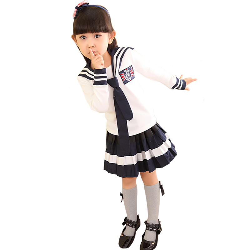 Spring And Autumn Clothing Sets Navy Style Girl Skirt Suit Roupas Infantis Menina Long Sleeved Preppy School Uniform For Girls jurassic world dinosaurs boys short sleeved t shirt top children roupas infantis menina 10 anos