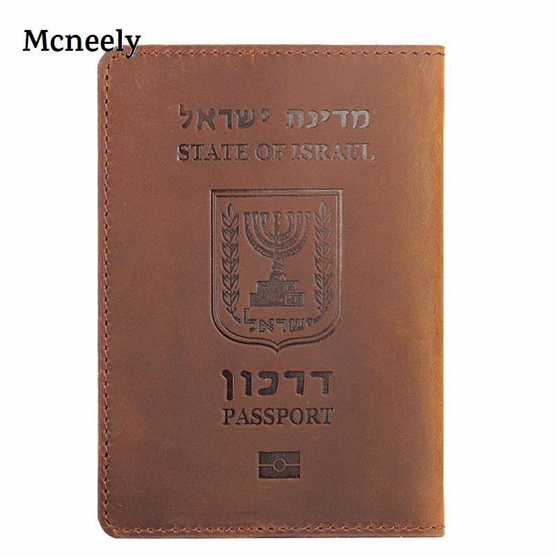 Israel Genuine Leather Passport Cover Credit Card Holder Men Passport Case Travel Unisex Crazy Horse Leather Travel Wallet Case