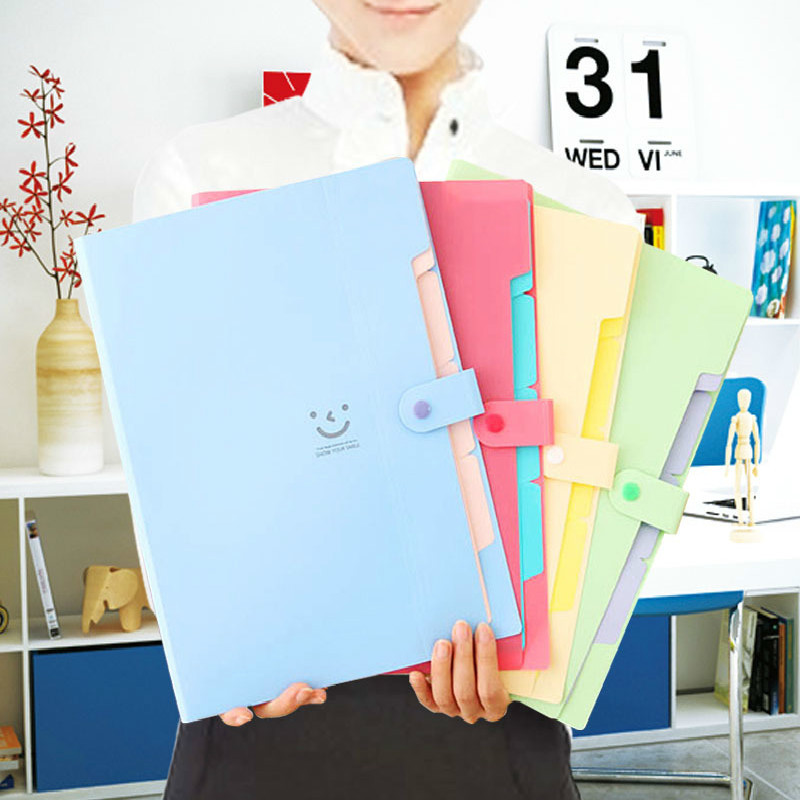 12 Color A4 Kawaii Carpetas Smile Waterproof Carpeta File Folder 5 Layers Archivadores Anillas Document Bag Office Stationery