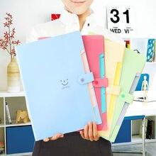 d2b6cb1d663 12 Color A4 Kawaii Carpetas Smile Waterproof Carpeta File Folder 5 Layers  Archivadores Anillas Document Bag