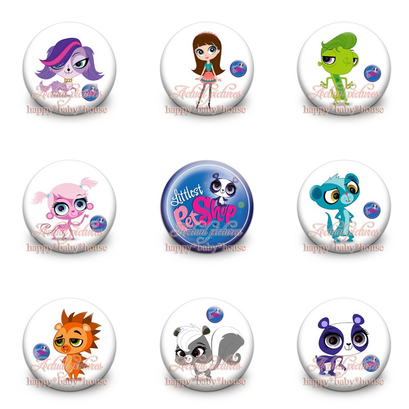 Novelty 90pcs Pet Shop 9styles Cartoon Buttons Pins Badges Round Badges,30mm Diameter,accessories For Clothing/bags,party Gifts Reliable Performance Luggage & Bags