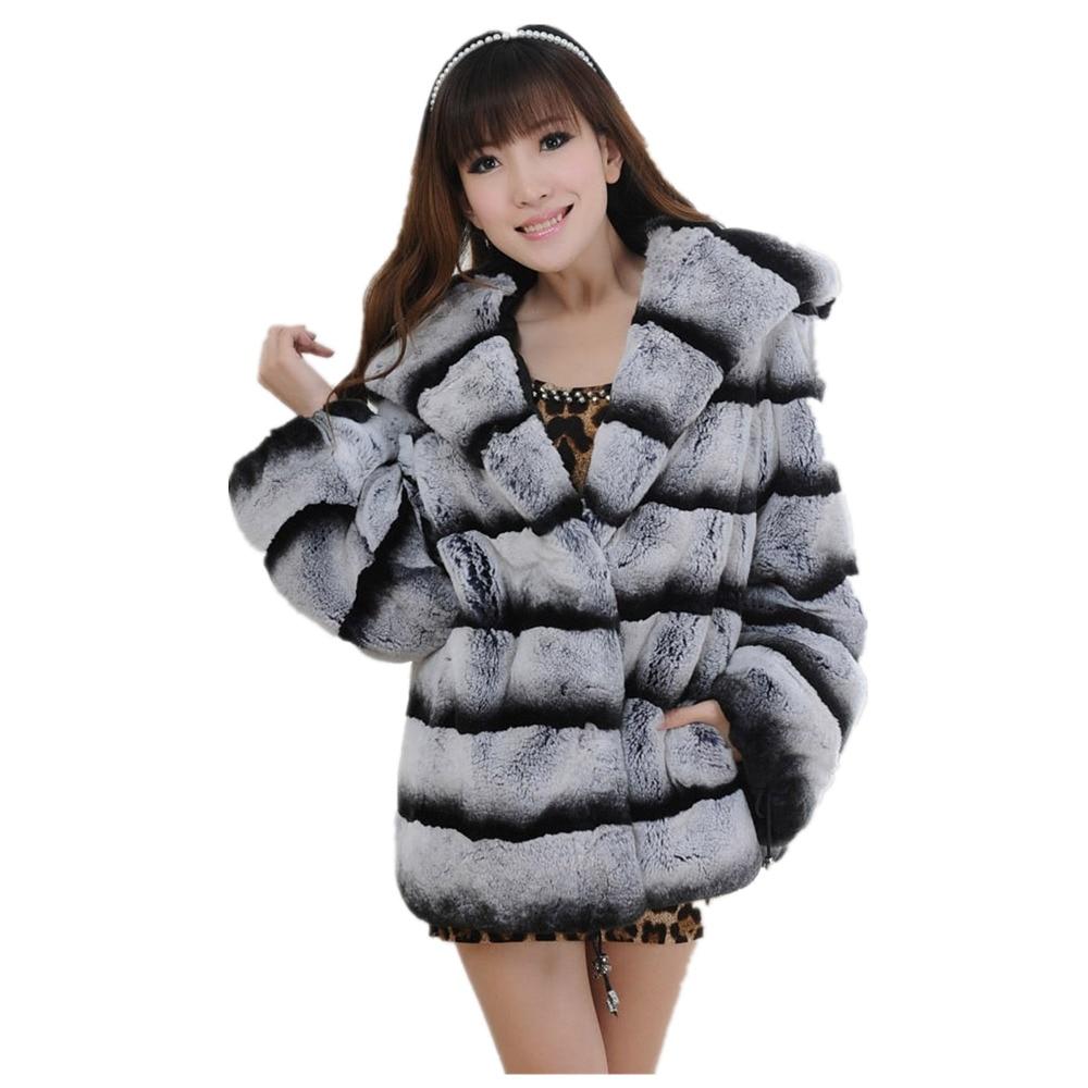 Long Chinchilla-Rex-Fur-Coat Large Hood Chinchilla Fur Jacket Chinchilla Rex Fur Coat Plush Grey Striped Coat Outwear Womens semi formal summer dresses