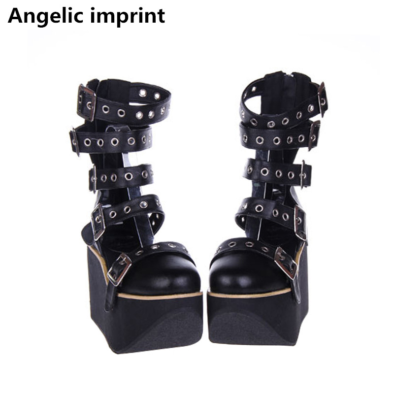 Angelic imprint mori girl Women punk motorcycle shoe lady lolita ankle Boots woman high trifle heels