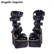انجيلية بصمة موري فتاة النساء فاسق دراجة نارية حذاء سيدة لوليتا حذاء من الجلد امرأة عالية تافه الكعوب مضخات أحذية منصة الصيف
