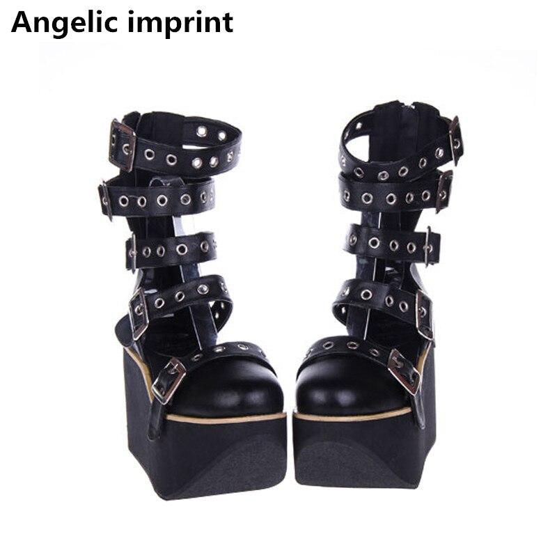 2e8fb1f520a01 Angéliques mentions légales mori fille Femmes punk moto chaussures lady  lolita cheville Bottes femme haute bagatelle talons pompes plate forme  d été ...