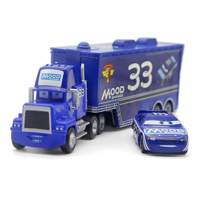 Disney Pixar Cars No.33 Mack Truck +Small Car Mood 1:55 Diecast Metal Alloy And Plastic Modle Car Toys Gifts For Children image