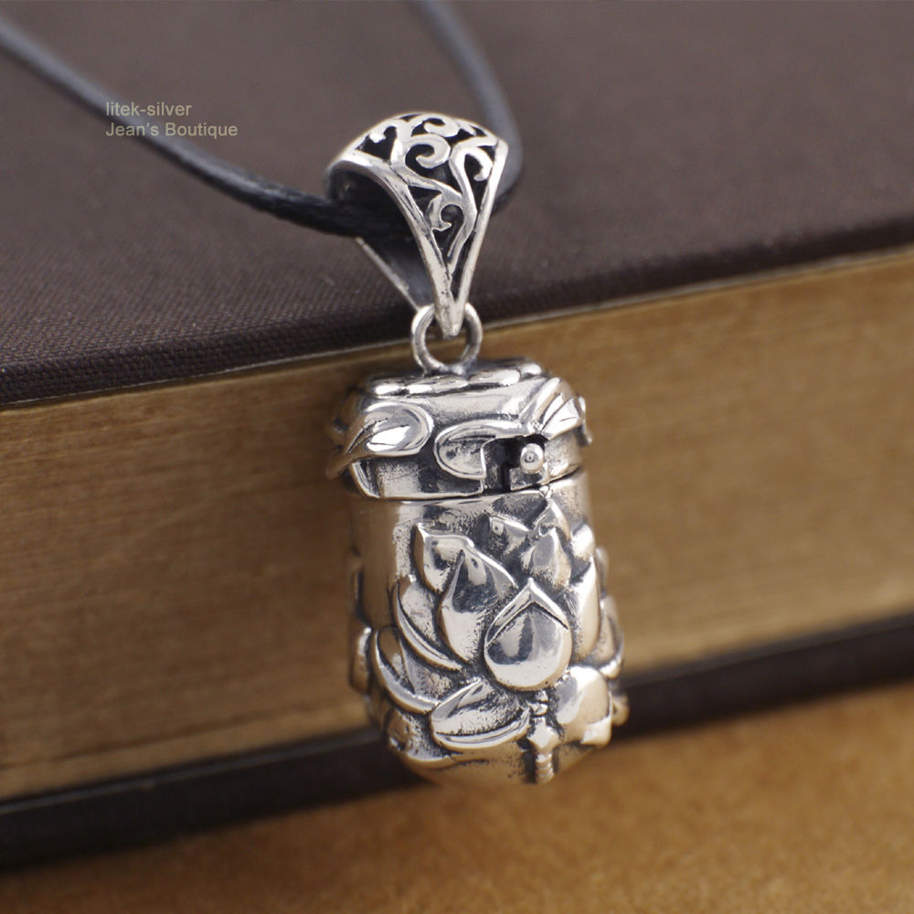 925 Sterling Silver Lotus Flower Yoga Zen Prayer Box Pendant Locket