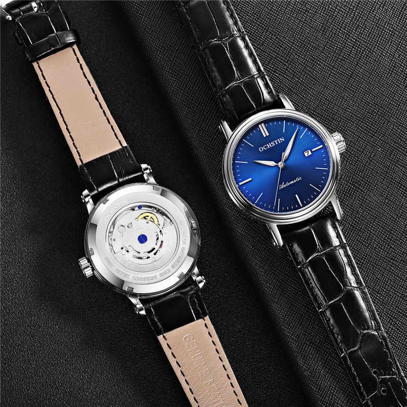 OCHSTIN อัตโนมัติ Mens นาฬิกาแบรนด์หรูกีฬากองทัพทหารนาฬิกาข้อมือหนังแท้ Skeleton ชายนาฬิกา 2024