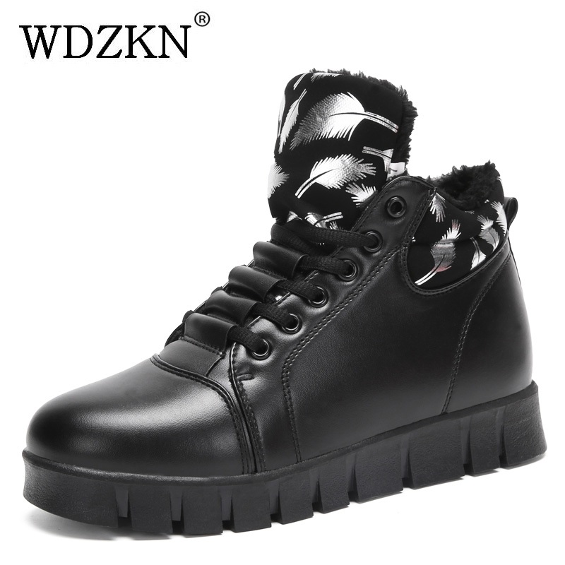 WDZKN Women Ankle Boots Flat Height Increasing Women Boots Lace Up Round Toe Autumn Winter Women Warm Platform Shoes Botas Mujer snow winter boots women ankle boots lace up bottines femme platform shoes woman warm female round toe suede flock botas mujer
