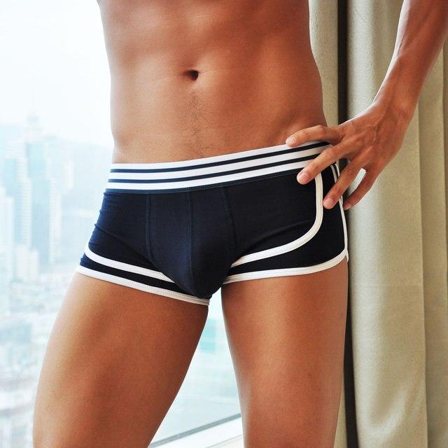 Высококачественные хлопковые модные мужские боксеры короткое сексуальное нижнее белье на низкой талии с 3D Ucrotch бесплатная доставка