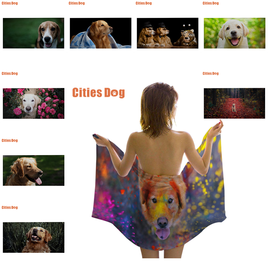 Serviette de plage Animal chien or motif impression microfibre voyage en plein air Sports natation Camping bain Yoga tapis couverture