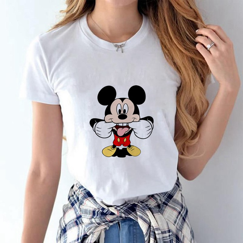 Cute Cartoon  Mouse Funny Face Pattern Summer Modal Women's T-shirt White Short-sleeved Shirt Casual Harajuku T-shirt
