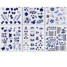 1sheet Nail Sticker Set 6*5cm Decals For Nails Art Butterfly/Striped/Flower Stickers DIY Manicure Tip Decor STICKER r6