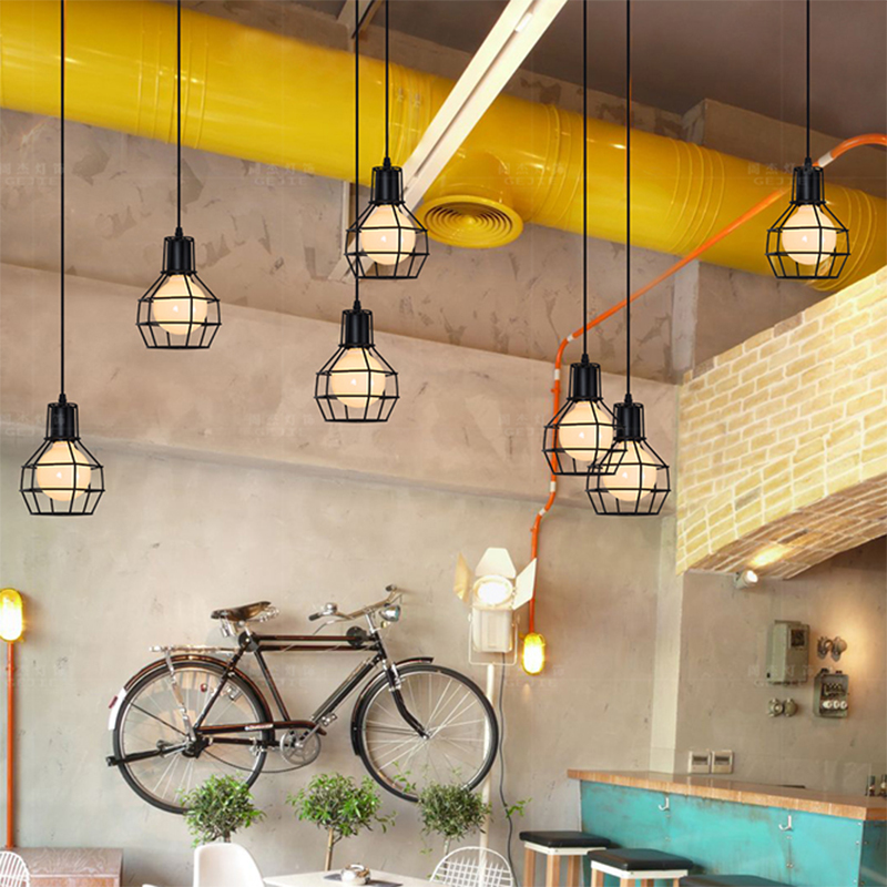 Loft Industrial restaurant Pendant Lights American Vintage spider suspension Lighting Bedroom living room Home Decoration lamps diy vintage lamps antique art spider pendant lights modern retro e27 edison bulb 2 meters line home lighting suspension