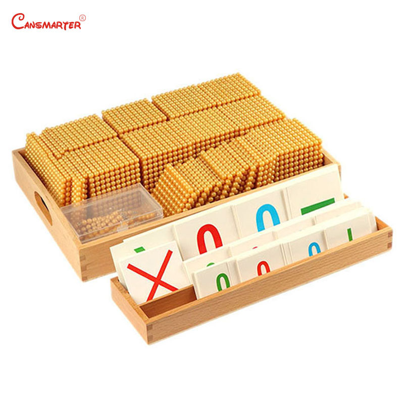 Educational Toys Beech Wooden Golden Beads Materials Game Montessori Calculation Number Counting Toy Preschool 3 6