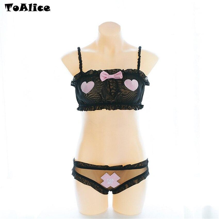 Image 4 - 1PC Top+1PC Briefs 2018 Hot Sale Intimates Set Sexy Strap Transparent Women Gauze Briefs Underwear Lolita Camisoles Set-in Bra & Brief Sets from Underwear & Sleepwears