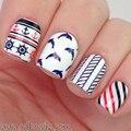 NASCIDO BONITA BP-W07 Âncora Stripe Nail Art Decalques Transferência de Água Stickers Decorações Nail Art #20598