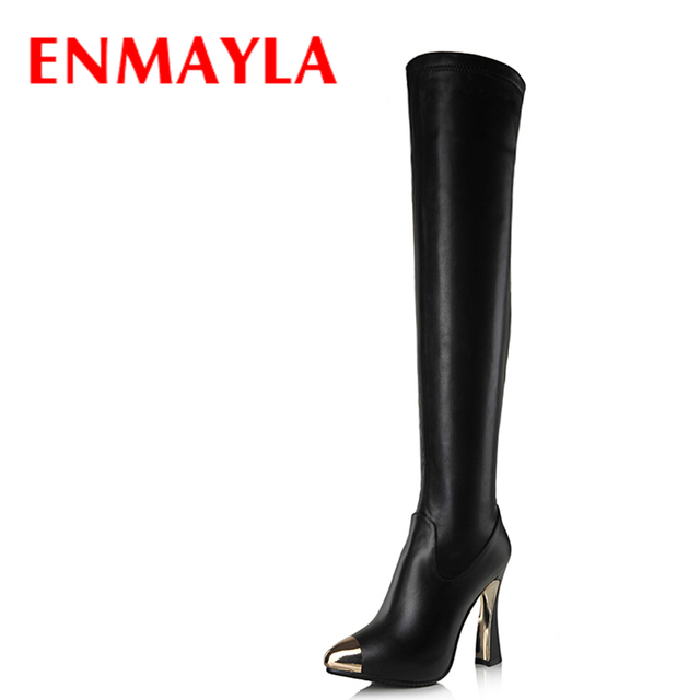 019c3626974c ENMAYLA Women Steel Toe High Heels Sexy Thigh High Boots Black White Tight  Over the Knee High Boots Winter Shoes Woman Long Boot