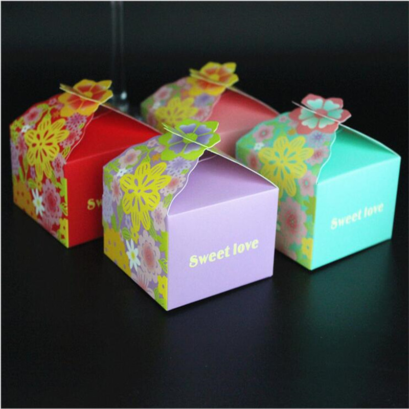Gift Box Wedding Invitations: 50Pcs 4 Colors Wedding Decoration Candy Favors Gift Box