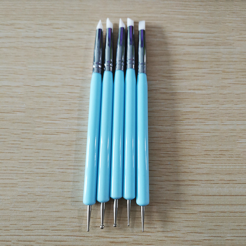 5pcs/Set Soft Pottery Clay Tool Silicone + Stainless steel Two Head Sculpting Polymer Modelling Shaper Art Tools Blue Pakistan