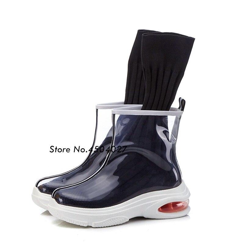 67e8f332cf7c Chaussettes forme Bottines Chaussures Appartements Transparent Glissement  Bottes Mode model Sur Model Pvc Plate 2 Avec Femmes Femme ...