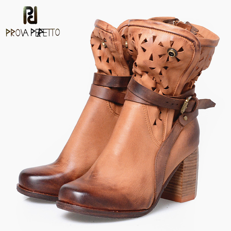 Prova Perfetto British Real Leather Hollow Out Square Toe Warm Short Martin Boots Mixed Color Back Strap Chunky High Heels Boots prova perfetto british style elegant sheep genuine leather ankle buckle hollow out flower boots back strap chunky high heel boot