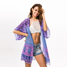 Kimomo Feminino Cardigan Summer Bohemian Beach Holiday Smock Outerwear Chiffon Print Shirt Women Shawl Ladies Blouses Purple