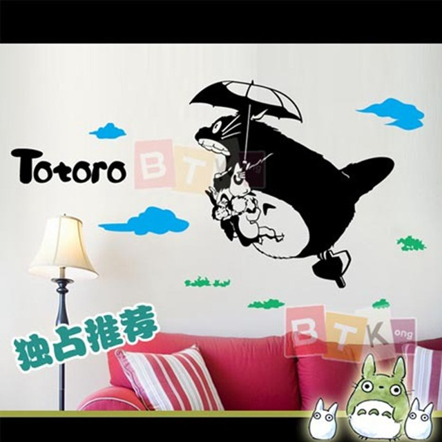 DCTAL Fly Totoro Wall Sticker Cartoon Kid Room Decal Station Poster Car  Window Art Wall Decals Parede Decor Mural 918