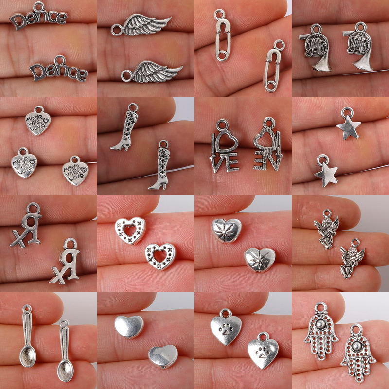 18pcs/lot Ancient Silver Mixed Type Heart Pendant Zinc Alloy Earrings Jewelry Making DIY Jewelry Accessories