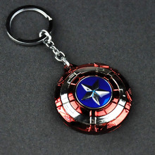 Captain America Shield Keychain Cosplay Rotatable Star Alloy Keyring Gifts