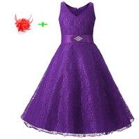 Lato kid wedding party dress dziewczyna lato bez rękawów suknia wieczorowa satynowa wstążka fioletowy koronkowe sukienki rozmiar 8 do 15