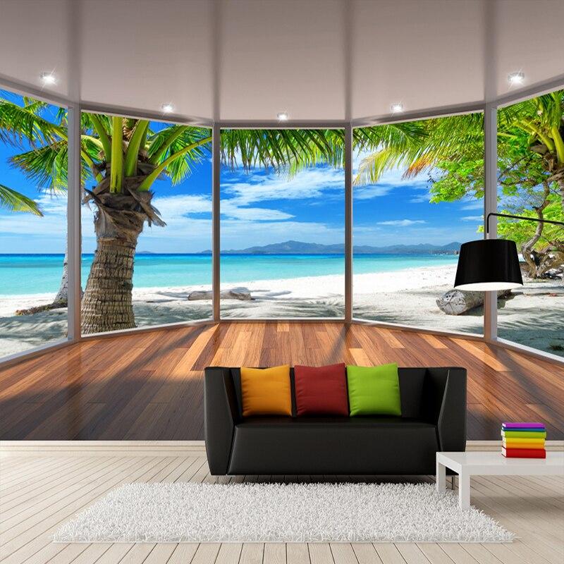 Custom Photo Wall Paper 3D Stereoscopic Balcony Window Beach Coconut Trees Scenery 3D Background Wall Decoration Mural Wallpaper