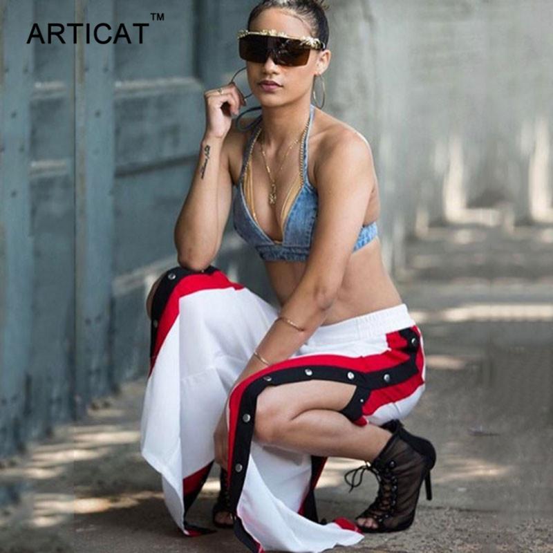 HTB1GOVpSVXXXXbxaXXXq6xXFXXX3 - Wide Leg Pants Side Split Women Pants High PTC 153
