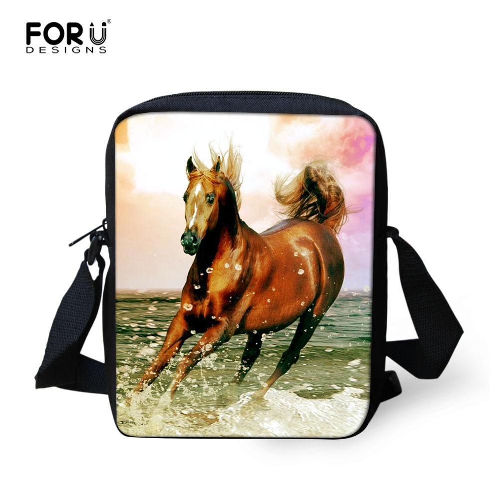 Cool Teenage Girls School Bag Designer 3D Animal Horse Printed School Bag for Women Mini Horse Schoolbag Kids Bookbag Mochila