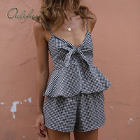 Ordifree 2018 Summer Women 2 Piece Set Plaid Tank Top Ruffle Off Shoulder Sexy Crop Top