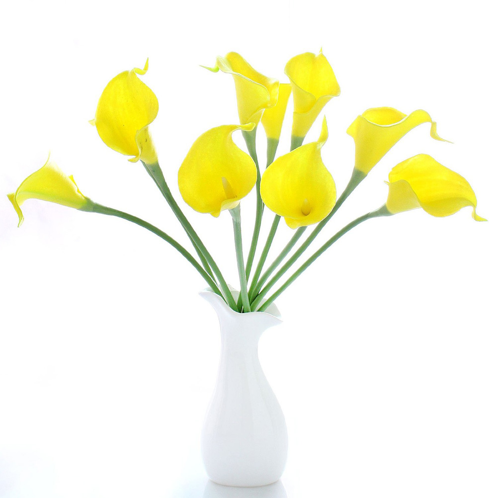 Online get cheap yellow calla lilies aliexpress alibaba group 10pcs elegant lifelike real touch artificial pu calla lily flower bouquets bridal wedding flower bouquets yellow dhlflorist Images