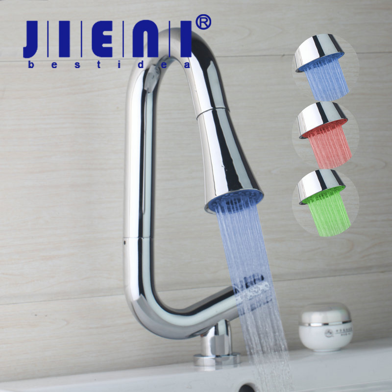 JIENI Chrome Brass Kitchen Basin Sink Faucet Pull Out & Pull Down LED Light Hot & Cold Water Mixer Tap Deck Mounted Tap kitchen chrome plated brass faucet single handle pull out pull down sink mixer hot and cold tap modern design