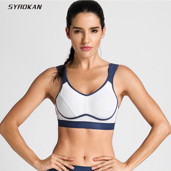 SYROKAN Women's High Impact Support Wirefree Bounce Control Plus Size Non Padding Workout Sports Bra 1