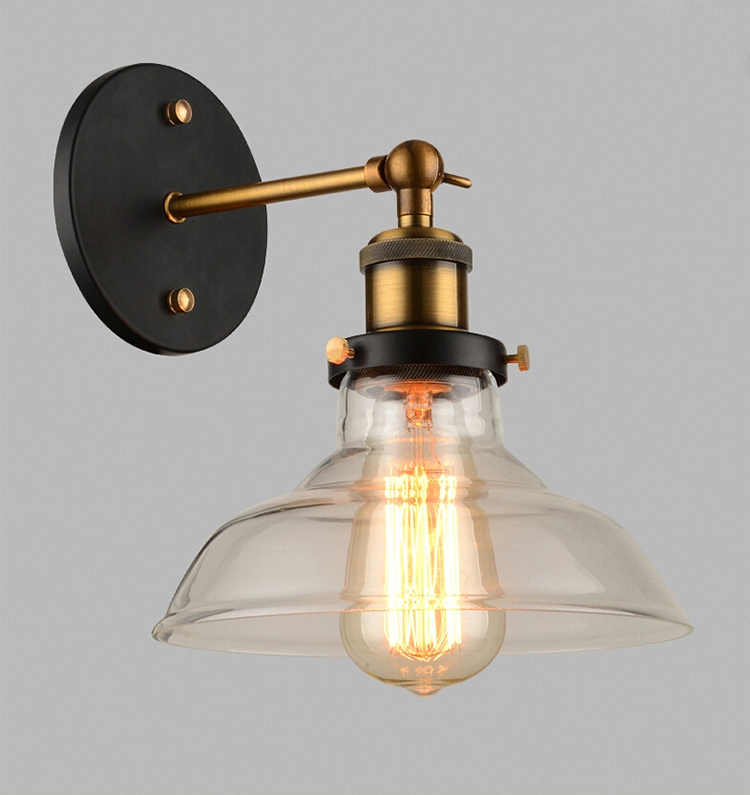 Wholesale Price Loft Vintage Industrial Edison Wall Lamps Clear Glass Lampshade Antique Copper ...