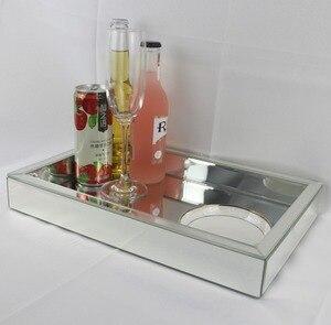 Прямоугольная декоративная стеклянная поднос для вина современный, зеркальный поднос для фруктов Свадебный декор поднос для хранения косм...