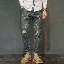 Мода свободные Отверстия рваные Джинсы для мужчин известный Бренд летом повседневная полная длина брюки Карго Эластичный Хип-хоп человек Шаровары брюки