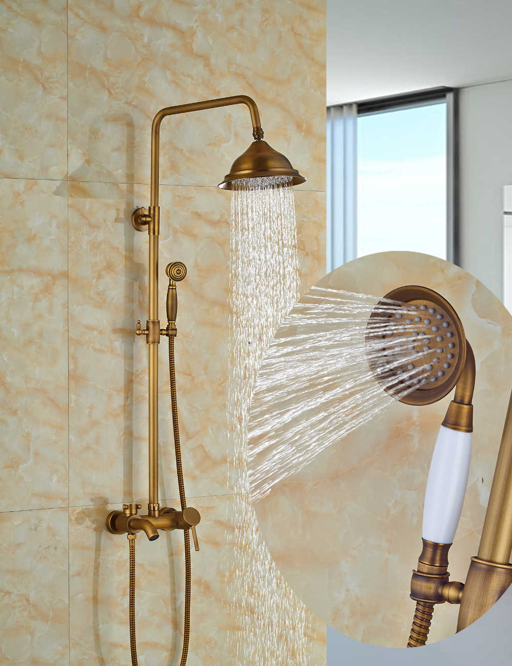 Wholesale And Retail Luxury Antique Brass Rain Set Faucet Tub Spout Mixer Tap W/ Hand Shower Sprayer Wall Mounted wholesale and retail promotion wall mounted bathroom tub faucet spout w hand shower sprayer antique brass shower mixer tap