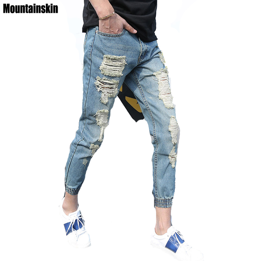 Mountainskin 2017 Summer Ripped Men Jeans Fashion Hole Denim Joggers Men Pants Slim Destroyed