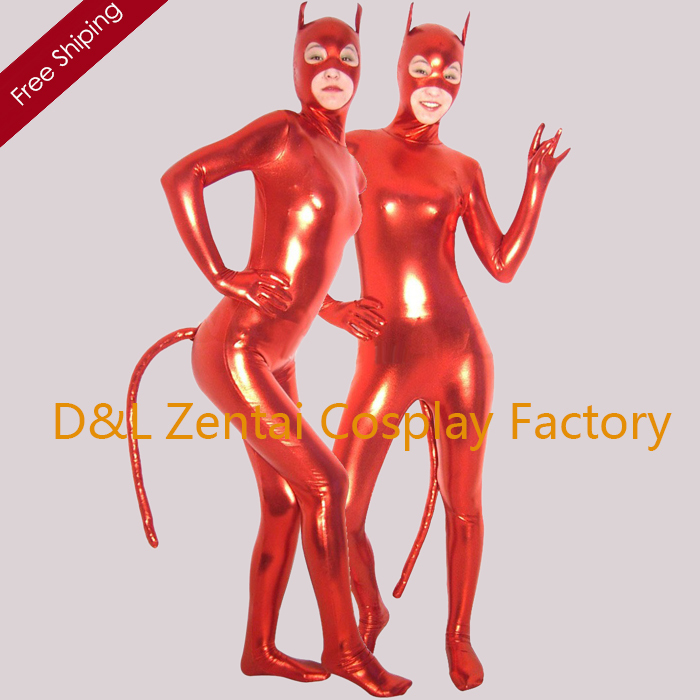 Free Shipping DHL Classic Full Body Red Devil Shiny Metallic Catsuit with Mask and Tail SHS105