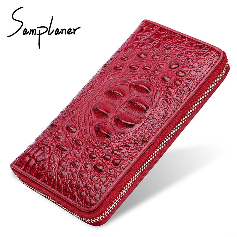 купить Fashion Genuine Leather Crocodile Women Wallets Clutch Long Design Men Wallet Alligator Purses Female Card Holder Male Purse Bag по цене 971.68 рублей