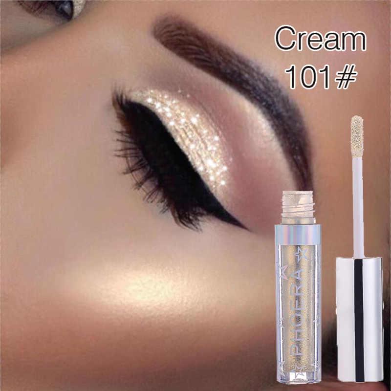 PHOERA 2019 marka nowy cień do oczu 16 kolorów makijaż cień do powiek wspaniałe metale Glitter i blask płynny cień do powiek Drop ship TSLM2