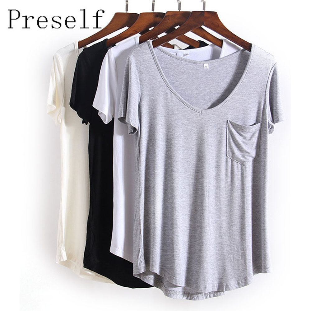 Preself 4 Colors Fashion All Match V Neck Short Sleeve T Shirts Summer New Arrivals Plus Size Loose European Style Tee Tops
